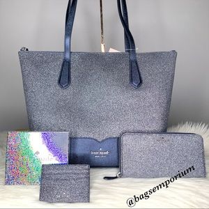 Kate Spade Glitter Tote Bag 3 Piece set
